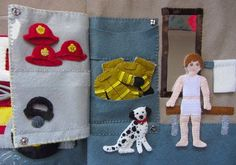 Felt Fire Station - Garage/Locker Room **To get pattern, scroll down and click The Pattern. Diy Quiet Books, Felt Quiet Books, Volleyball Locker Decorations, Garage Lockers, Sensory Book, Quiet Book Patterns, Camping Crafts, Busy Book, Book Activities