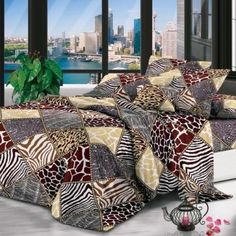 Queen Bedding Set – Queen size 4 piece bedding set – cover – cases – sheet – Colour: Animal print with diamond-pattern – Dimensions: