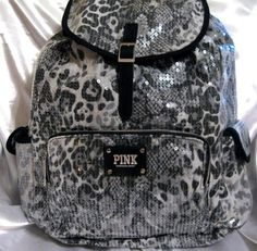 Victoria Secret Pink ♥ Gray Black Snow Leopard Cheetah Bling Sequin Backpack Bag | eBay