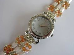 How to make beaded Watch Band Jewelry Making Beads, Beaded Jewelry, Jewelry Bracelets, Beaded Earrings, Jewellery, Beaded Watches, Bracelet Tutorial, Schmuck Design, Beads And Wire