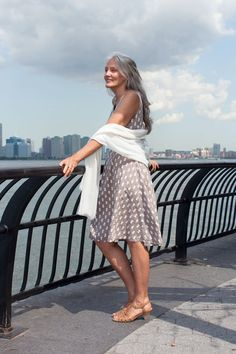 """How This 63-Year-Old Model Stays Gorgeous #refinery29  http://www.refinery29.com/51442#slide-11  What's the best beauty advice you've ever received?  """"Taking joy in living is a woman's best cosmetic. If you want something more practical, a Thai dermatologist said, 'do not wash your face unless you must, and only at night before bedtime.' Been doing it ever since!""""  Uniqlo shawl; dress bought in Rome; Clarks Artisan shoes."""