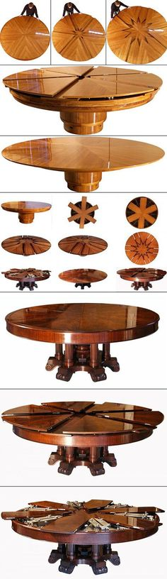 This da Vinci-like table table is based on a design patented in 1835. Just turning the table one quarter of a rotation will double its surface area. Its operation is simple and beautiful--Everything about this table is easy, except its cost ($50,000) and its construction, which takes many months.: