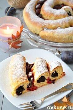 Pastel de mantequilla con ciruelas espiral y semillas de amapola - Recetas sencillas Ovkuse.ru