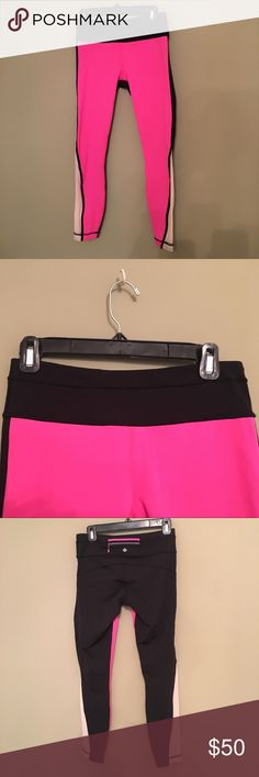 LuLu Lemon 🍋 running pants Black and Hot Pink Yoga/ Runners leggings. Worn once but no tags. lululemon athletica Pants Leggings