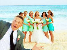 Beach Wedding photo bomb!
