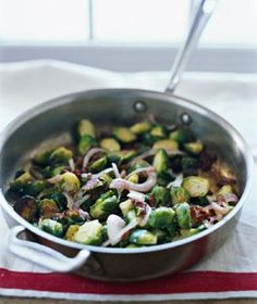 Sautéed Brussels Sprouts With Bacon and Golden Raisins. Tried it, loved it! So many fantastic flavors.