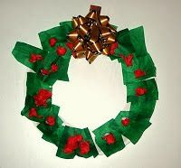 Wreath made from a paper plate, tissue paper and store-bought bow