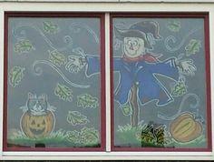 Herfst Raamschildering gemaakt door www.kickenkitsch.nl Window painting / decoration fall /autumm