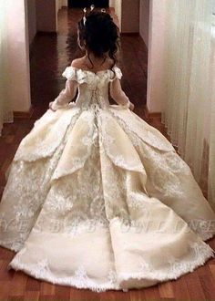Cheap Flower Girl Dresses For Weddings With Train Lace Ball Gown Little Girls Pageant Dress White Ivory First Communion Dresses For Girls,FG 1193 White Pageant Dresses, Little Girl Pageant Dresses, Girls Party Dress, Baby Dress, The Dress, Party Dresses, Pageant Gowns, Dress Long, Dressy Dresses