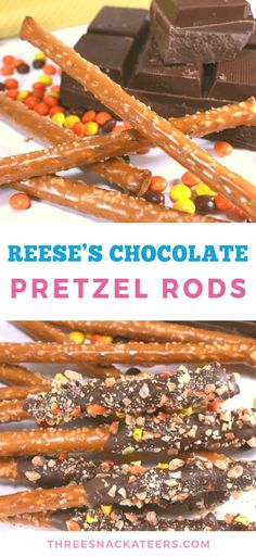 Chocolate covered pretzel rods with Reese's Pieces are a must-have treat for peanut butter lovers. This quick and easy recipe is the perfect combination of sweet and salty flavors. Snacks Recipes, Yummy Snacks, Sweet Recipes, Delicious Desserts, Dessert Recipes, Fall Desserts, Reese's Chocolate, Chocolate Snacks, Desert Recipes