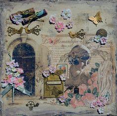 Leinwand-Collage mit Frauenkopf im Vintage-Stil, wunderhübsch und romantisch