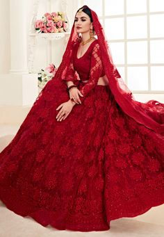 Rouge Red Pearl Embroidered Wedding Lehenga Choli is best pick as an indian wear for festivals or wedding event. This elegant set has a very pretty thread embroidery detailed with zari and pearl wo. Indian Gowns Dresses, Indian Fashion Dresses, Pakistani Dresses, Bridal Dresses, Fashion Blouses, Fashion Suits, Women's Fashion, Indian Wedding Lehenga, Bridal Lehenga Choli