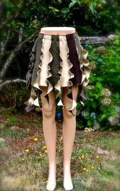 Woodland Nymph Elf Pixie Tattered Skirt Upcycled Clothing Wool with Elastic Waist Recycled Brown Forest Green Size Small Women's Tribal. $55.00, via Etsy.