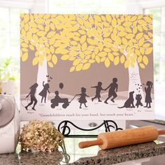 """This unique silhouette print captures the personality of your family in a print that will be treasured for years to come. One of our Design Gurus will work with you to create an interaction of silhouettes, up to 20, to create your """"family tree"""". Your Design Guru will also work with you to add a special """"carving"""", choose a quote, and custom color your print in any shade. The perfect gift for Grandma and Grandpa.  My own nona would have loved this print!! #paperramma"""