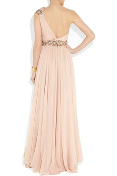 Marchesa | Embellished one-shoulder silk-chiffon gown | NET-A-PORTER.COM