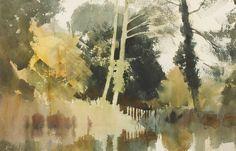 "poboh: "" Sunlight, Suffolk Stream, Edward Seago. (1910 - 1974) - Watercolor - """