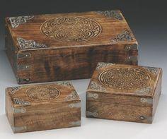 "ANTIQUE STYLE WOOD BOX - CELTIC DESIGN S/3 by ajantaenterprises.com. $49.99. 4"" x 6.5"". Three Boxes. 6.5"" SQ. 8"" x 12"". Antique Style Wood Box - Celtic Design S/3 WB255"