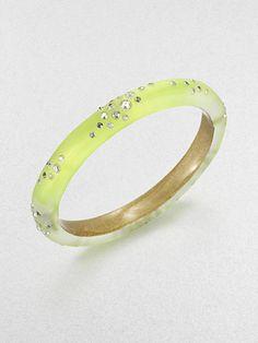 Alexis Bittar - Jeweled Lucite Bangle Bracelet/Neon Yellow - Saks.com