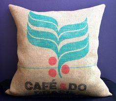 "Cafe S Do Brasil - 26"" Burlap Coffee Sack Pillow, Etsy."
