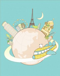 Nursery art  around the world, kids art, kids gift, travel around the world. €10,00, via Etsy. @Gina de Villiers Nunn Upshaw