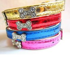 Give-A-Dog-A-Bone Pet Collars Luxury rhinestone bone collars for your dogs/cats. Metallic colors.