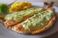Descubre como preparar el mejor Trucha en Salsa de Aguacate con esta fácil preparació... Guacamole, Healthy Recipes, Healthy Food, Sausage, Food And Drink, Fish, Ethnic Recipes, Diabetes, Kitchen