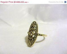 ON SALE Art Deco 15ct Gold Diamond Ring 1920s by AlwaysSeeking, $1336.50