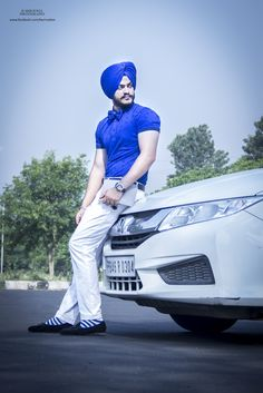 sikh fashion, mens fashion, white trouser, car , honda city, blue turban, bow tie , outdoor shoot