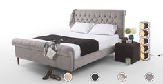 Orkney Double Bed, Owl Grey from Made.com. Orkney is the ultimate statement bed. It has a rolled top and a buttoned headboard, inspired by the class..