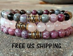 Heart Chakra, Tourmaline, Lepidolite, Rose Quartz Yoga set of 3 mala bracelets, Meditation mala set, Reiki Charged, Love drawing bracelet