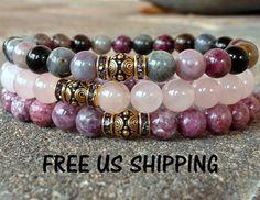 Heart Chakra, Tourmaline, Lepidolite, Rose Quartz Yoga set of 3 mala bracelets, Meditation mala set, Reiki Charged, Love drawing bracelet