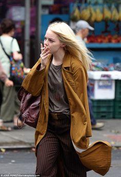 Emma Stone on set.