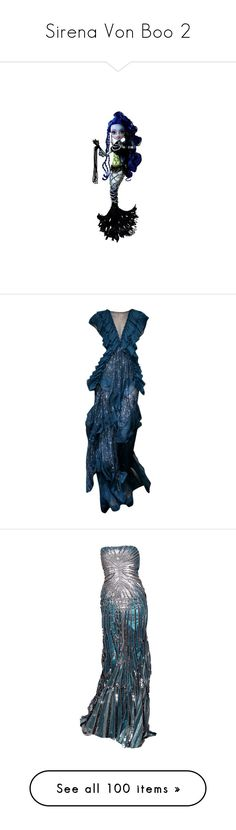"""""""Sirena Von Boo 2"""" by bluetidegirl ❤ liked on Polyvore featuring monster high, dresses, gowns, long dresses, vestidos, blue evening dresses, long blue dress, blue gown, blue evening gown and blue tube dress"""