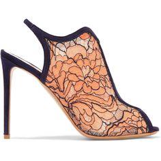 Nicholas Kirkwood Suede-trimmed lace and mesh sandals ($385) ❤ liked on Polyvore featuring shoes, sandals, heels, pastel orange, mesh sandals, high heel shoes, orange high heel sandals, high heel sandals and slingback sandals