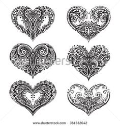 Pattern Of Zentangle Hearts Stock Vector - Illustration of line, invitation: 65483805 Key Tattoos, Body Art Tattoos, I Tattoo, Tattoos For Daughters, Sister Tattoos, Teacup Tattoo, Heart Hands Drawing, Heart Tattoo Designs, Zentangle Patterns