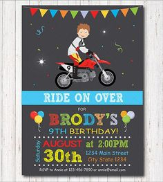 Motocross Birthday Invitation Motocross invite Motocross