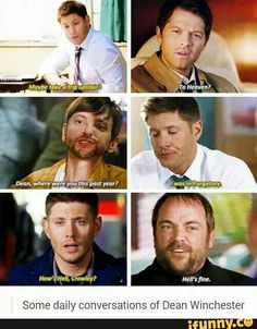 Find images and videos about supernatural, dean winchester and castiel on We Heart It - the app to get lost in what you love. The Supernatural, Castiel, Crowley Spn, Supernatural Bloopers, Supernatural Tattoo, Supernatural Imagines, Supernatural Wallpaper, Rick Springfield Supernatural, Familia Winchester