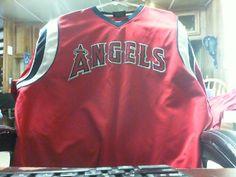 Mens Stitches Red Los Angeles Angels of Anaheim  V-Neck T-Shirt #LosAngelesAngelsofAnaheim