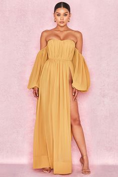 7e8ac1173b9 HOUSE OF CB  Marlena  Mustard Chiffon Bardot Maxi Dress XS 6   8 SS