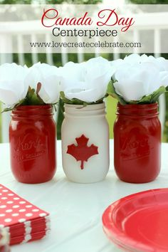 Adorable mason jar Canada Day centerpiece for your BBQ party! Canada Day 150, Happy Canada Day, Canada Eh, Canada Day Centrepiece, Mason Jar Crafts, Mason Jars, Holiday Crafts, Holiday Fun, Holiday Ideas