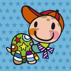 Stoer, vrolijk geboortekaartje 'Schildpad'. http://www.tanjameteenrietje.nl/a-29041073/jongen/nieuw-aj18-schildpadje/