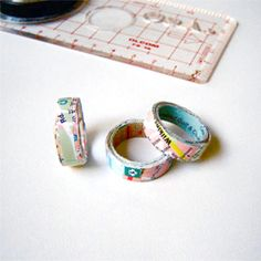 Rings made from maps, would be cool to do this print for shrinky dinks