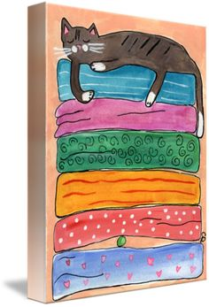 """""""Princess Kitty and The Pea"""" by Christine Quimby, Wellfleet, Massachusetts // This pretty kitty is sound asleep! But not for long, because she is a princess and will surely feel the lump from the pea. // Imagekind.com -- Buy stunning fine art prints, framed prints and canvas prints directly from independent working artists and photographers."""
