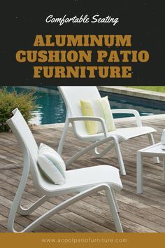Aluminum Cushion Patio Furniture. Choosing terrace furnishings may be a tough call with such a large amount of choices.  There is one choice that's snug likewise as stunning to accent any terrace, which is aluminum cushion terrace furnishings. Aluminum cushion terrace {furniture|piece of furnishings|article of furniture|furnishings} is that the most snug terrace furniture . Plush cushions and soft upholstered materials build sitting during a} chaise lounge with very reposeful expertise. Patio Chairs, Outdoor Chairs, Outdoor Decor, Garden Furniture, Outdoor Furniture, Aluminum Patio, Aesthetic Room Decor, Club Chairs, Outdoor Gardens