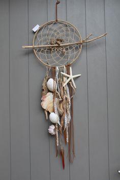Attrape rêves, dreamcatcher, mobile avec bois flotté, perles, coquillages étoile de mer                                                                                                                                                                                 Plus