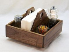 Lazy Susan Kitchen Caddy Napkin Holder Smart by BearcatWoodworks Kitchen Caddy, Diy Kitchen, Wooden Kitchen, Kitchen Stuff, Table Caddy, Coffee Candle, Small Wood Projects, Diy Home Decor Bedroom, Lazy Susan