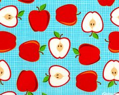 """KAMTR9BZ - Half a Whole Apple from the """"Metro Market"""" collection by Amy Biggers for Robert Kaufman Fabrics."""