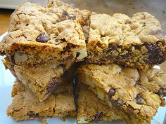 Whole Grain Chocolate Walnut Blondies