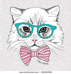 Image portrait cat in the glasses and with the bow. Vector illustration. - stock vector