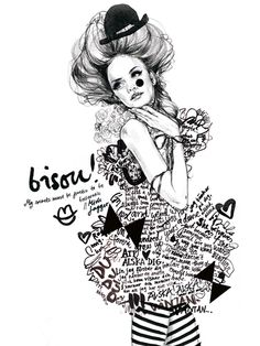 'Bisou!' by Lina Ekstrand #illustration #painting #drawing